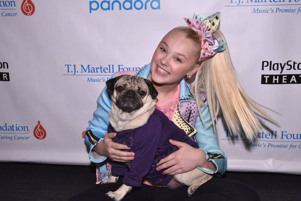 jojo siwa holding doug the pug at a red carpet event